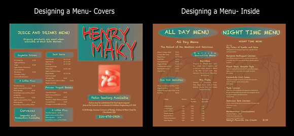 Designing a menu using: InDesign.