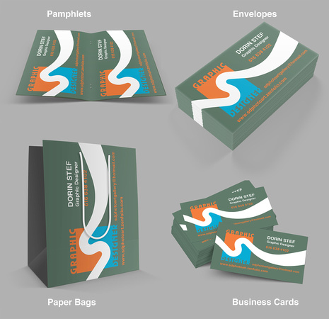 Designing business cards, envelopes, pamphlets and bags using: Photoshop, Illustrator and InDesign.
