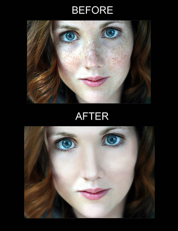 Professional retouching portraits and skin using: Adobe Photoshop.