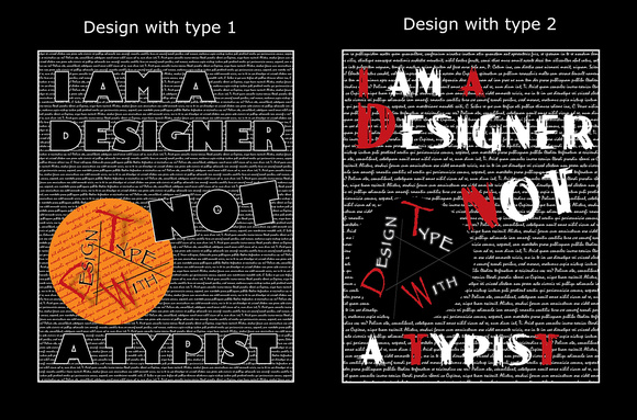 Designing with type using: Photoshop, Illustrator and InDesign.